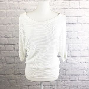 Express white sweater. 3/4 length sleeves. Size M